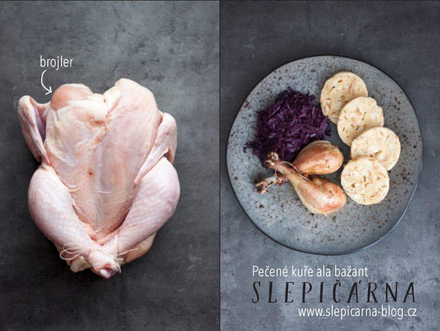 Pečené kuře aˋla bažant se zelím a knedlíky