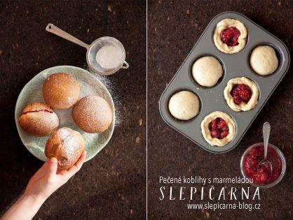 Pečené koblihy v muffinové formě s marmeládou