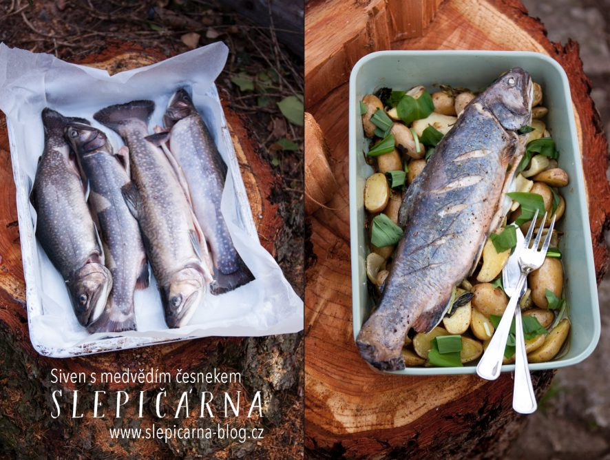 Pečená ryba s medvědím česnekem a bramborami