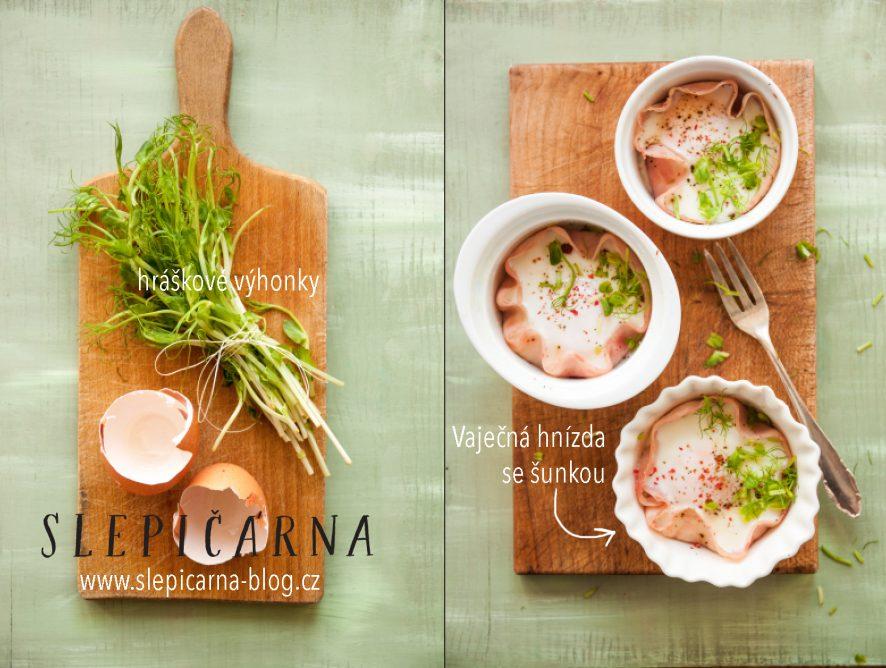Víkendové snídaně: Vaječná hnízda se šunkou a hráškem