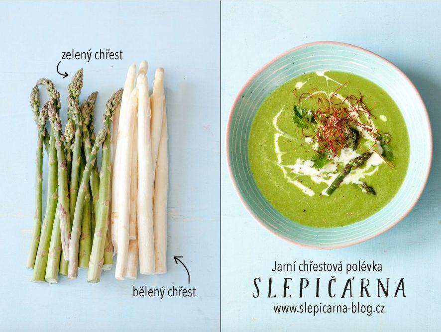 Jarní chřestová polévka se špenátem a hráškem