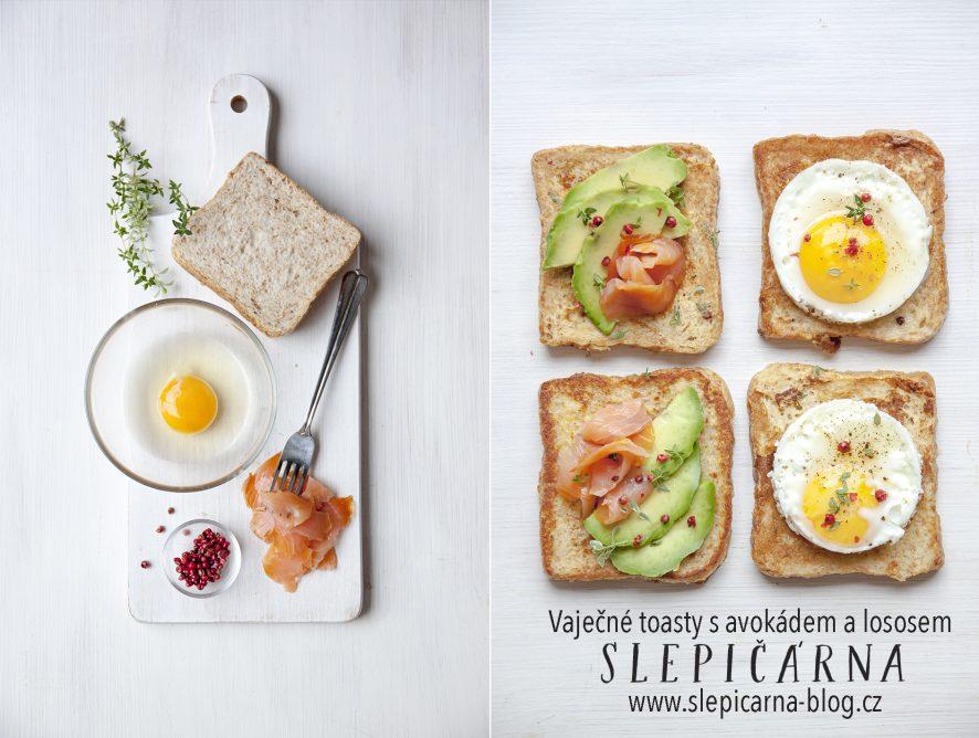 Vaječné toasty s avokádem a lososem