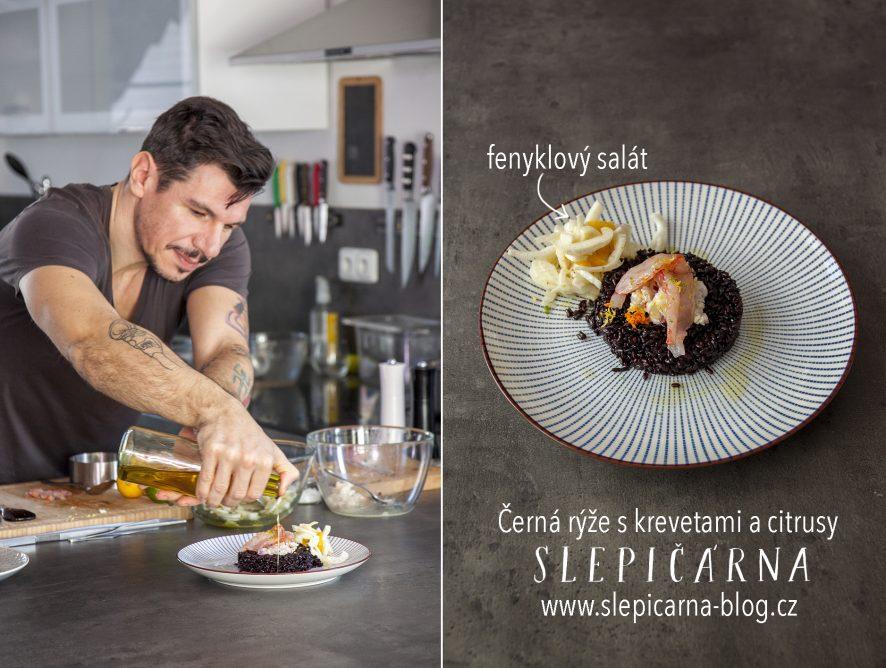 Černá rýže s krevetami od Gianfranca Coizzy