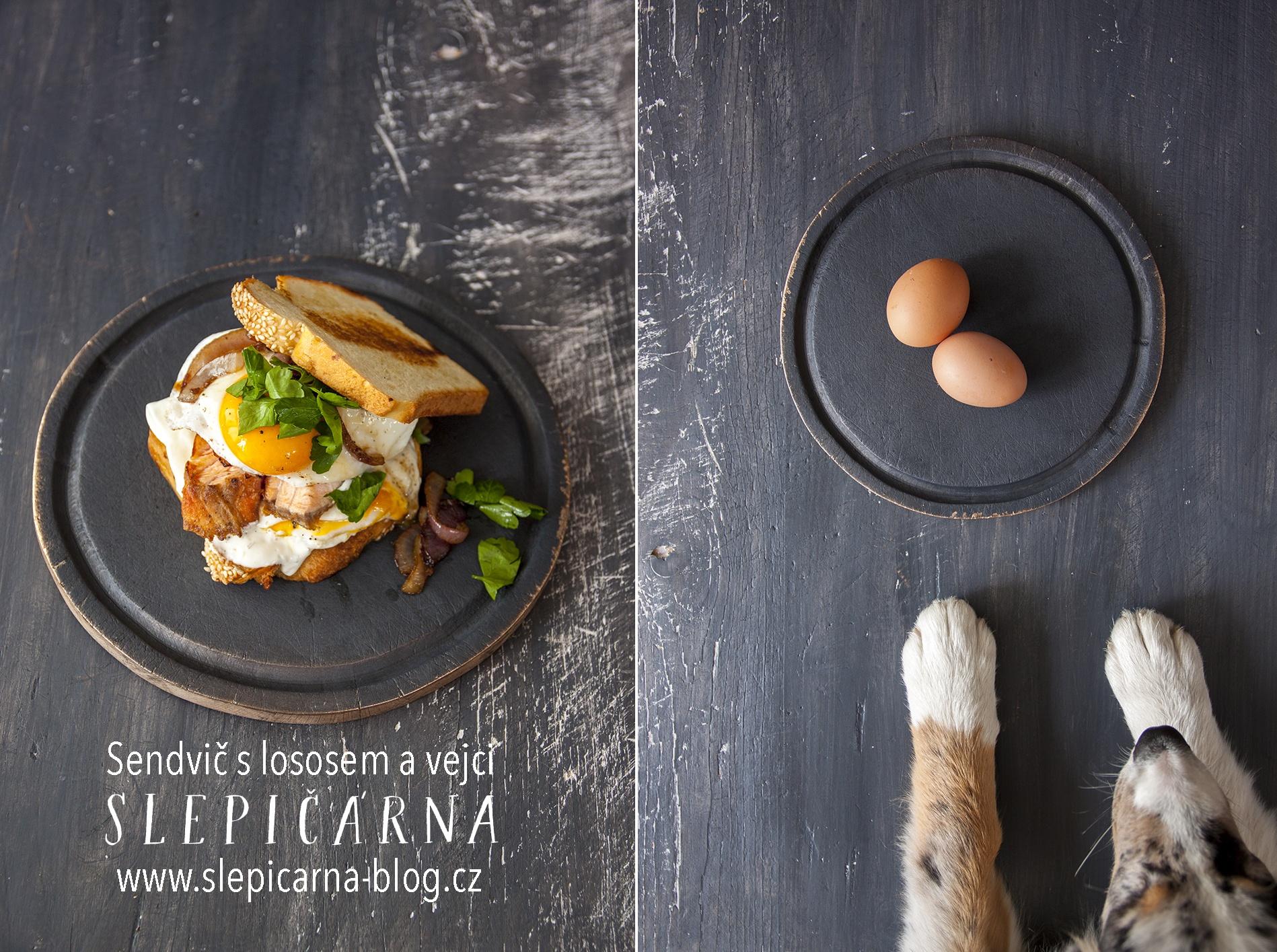 Snídaňový sendvič s lososem a volským okem