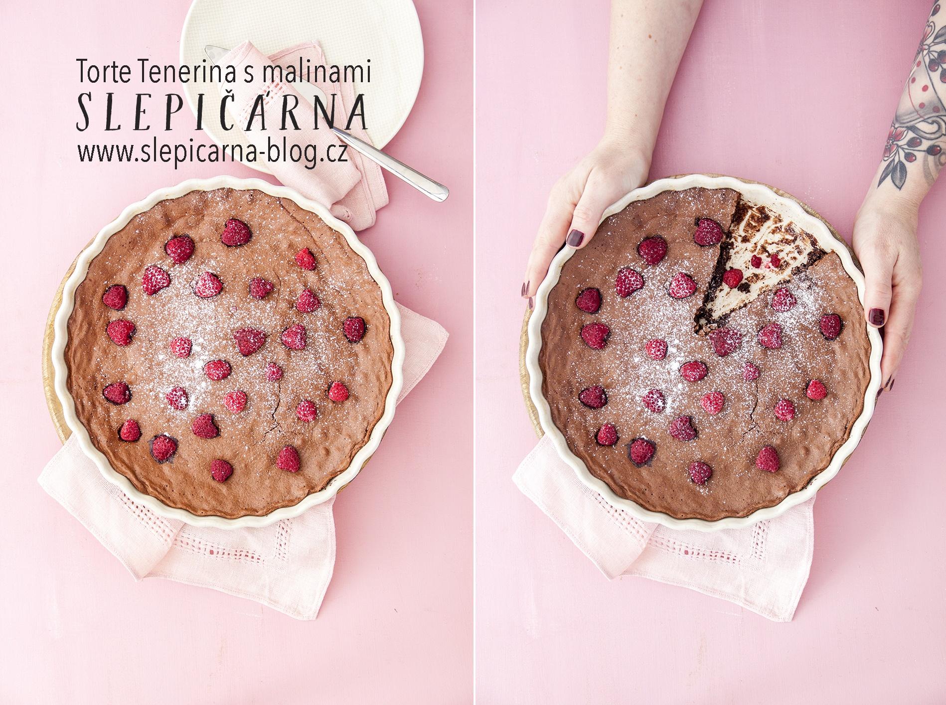 Bezlepkový čokoládový koláč s malinami