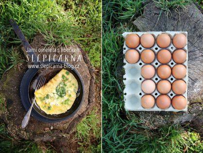 Jarní omeleta s libečkem a balkánským sýrem