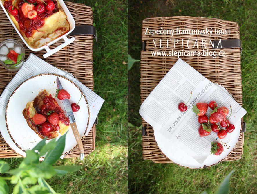 Zapečený francouzský toust s ovocem