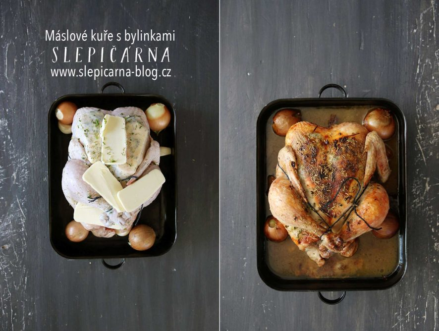 Pečené máslové farmářské kuře s bylinkami