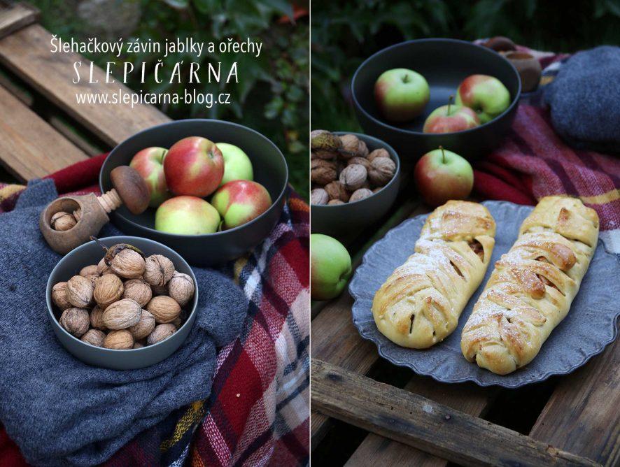 Šlehačkový závin s jablky a ořechy