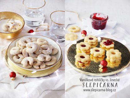 První vánoční cukroví: vanilkové rohlíčky, linecké a perníčky