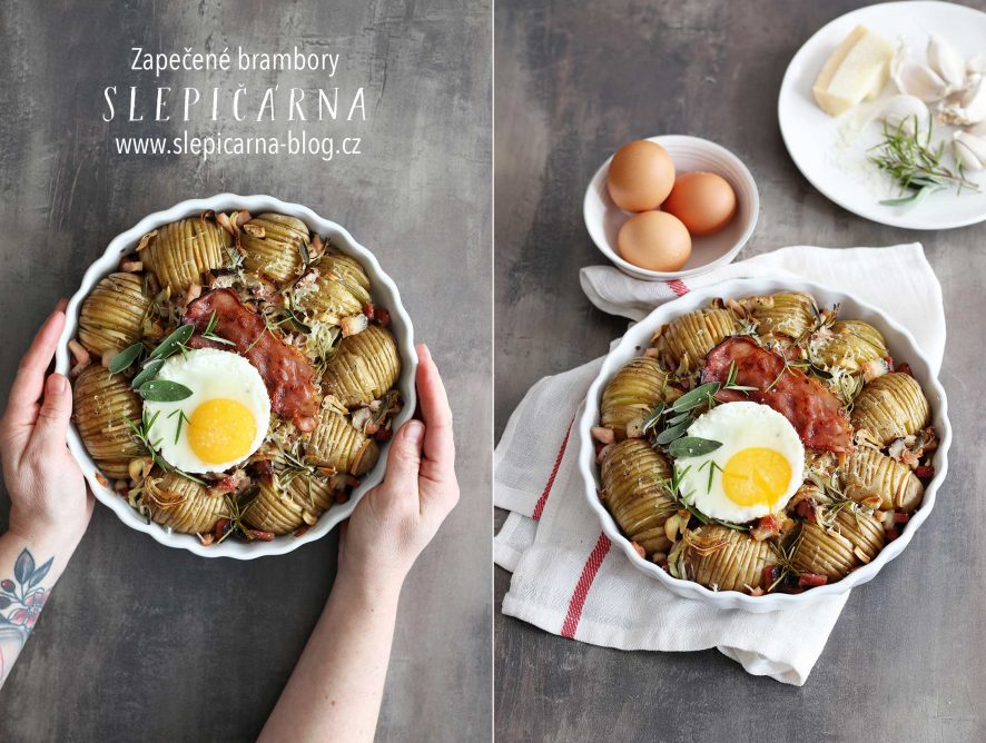 Zapečené brambory s tyrolskou šunkou a vejci