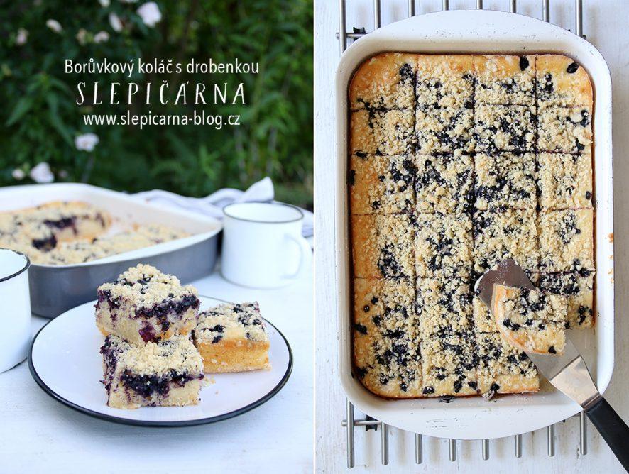 Borůvkový koláč s drobenkou bez kynutí
