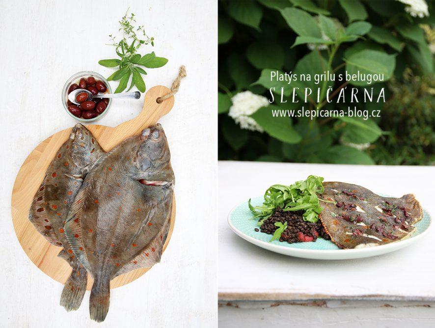 Grilovaný platýz s olivami a salátem z belugy