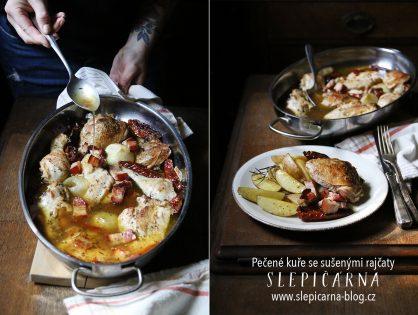 Upečte si farmářské kuře se sušenými rajčaty a brambory s rozmarýnem