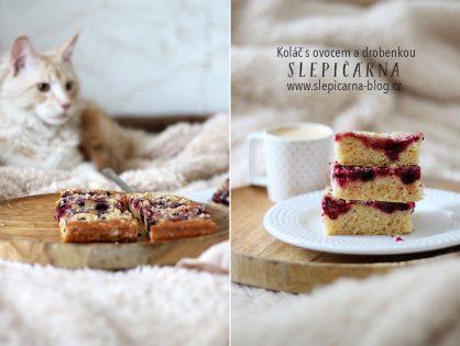 Tvarohový koláč s ovocem a drobenkou