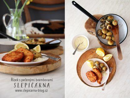 Nedělní kuřecí řízek s pečenými bramborami a domácí tatarskou omáčkou