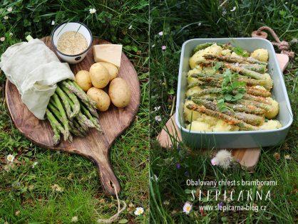 Chřest obalený v parmazánu s bylinkovými bramborami