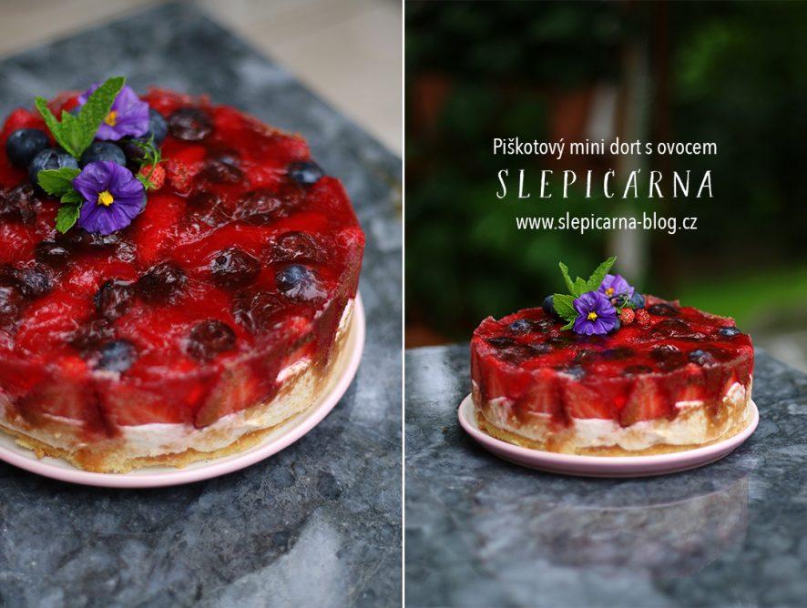 Retro mini piškotový dort s ovocem k narozeninám