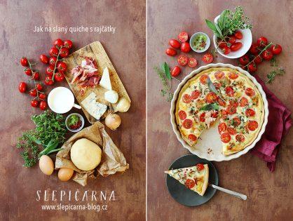 Slaný sýrový quiche s rajčátky a bylinkami