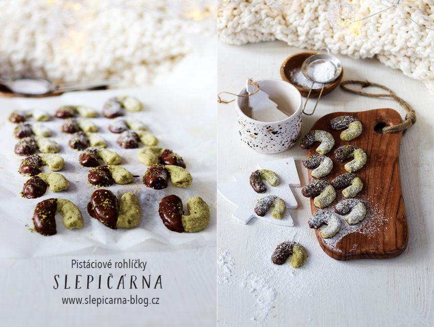 Pistáciové rohlíčky namáčené v čokoládě