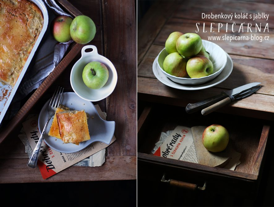 Jednoduchý drobenkový koláč se strouhanými jablky a skořicí
