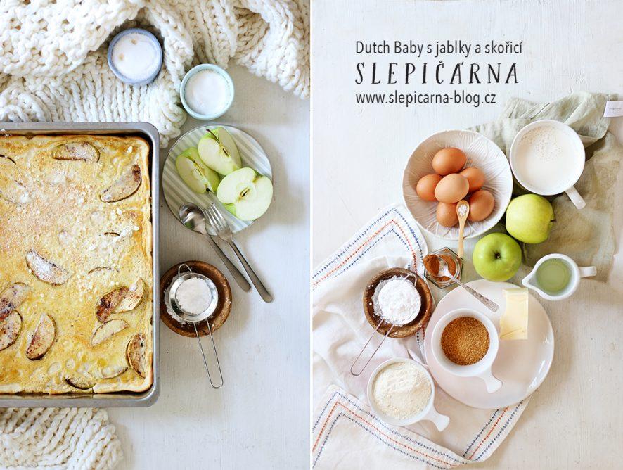 Dutch Baby s jablky a skořicí na plech