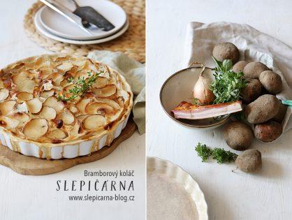 Chalupářský bramborový koláč se slaninou a smetanou