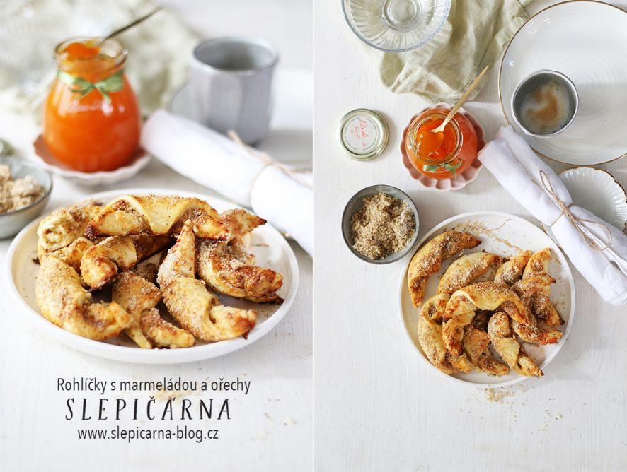 Křehké rohlíčky s meruňkovou marmeládou a vlašskými ořechy
