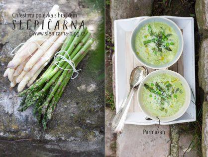 Oblíbená krémová chřestová polévka s hráškem a parmazánem