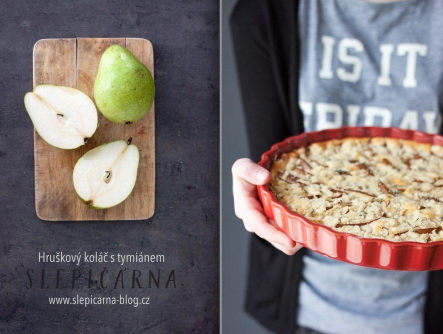 Víkendové pečení: Hruškový koláč s ricottou, drobenkou a tymiánem