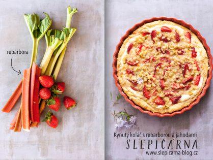 Kynutý koláč s rebarborou, jahodami, tvarohem a drobenkou