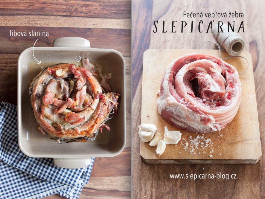 Víkendová pečená vepřová žebra s česnekem a libovou slaninou