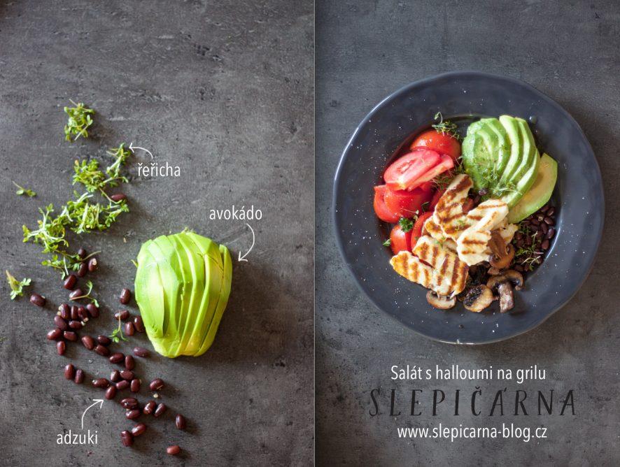 Zdravý salát s avokádem, fazolemi adzuki a halloumi na grilu