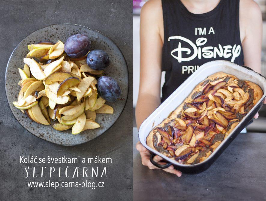 Podzimní koláč s mákem, švestkami a jablky