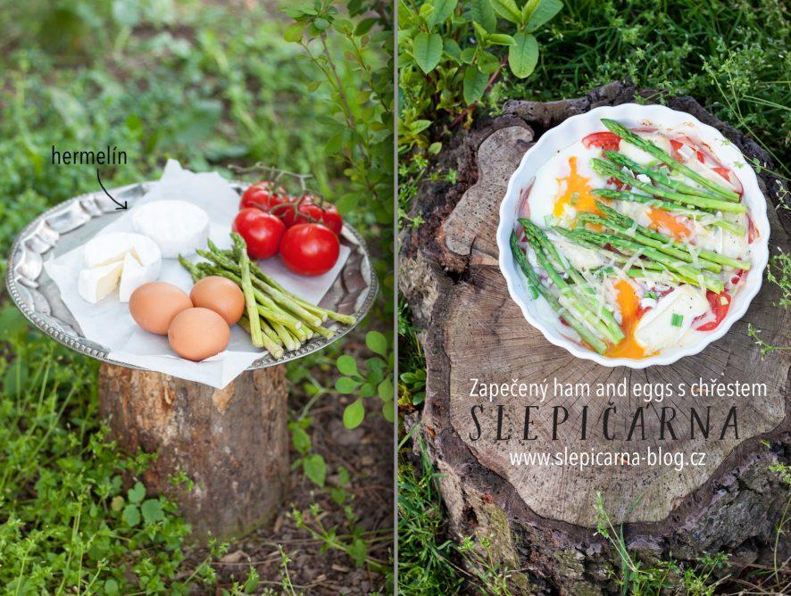 Slaný koláč v podobě ham and eggs s chřestem a hermelínem