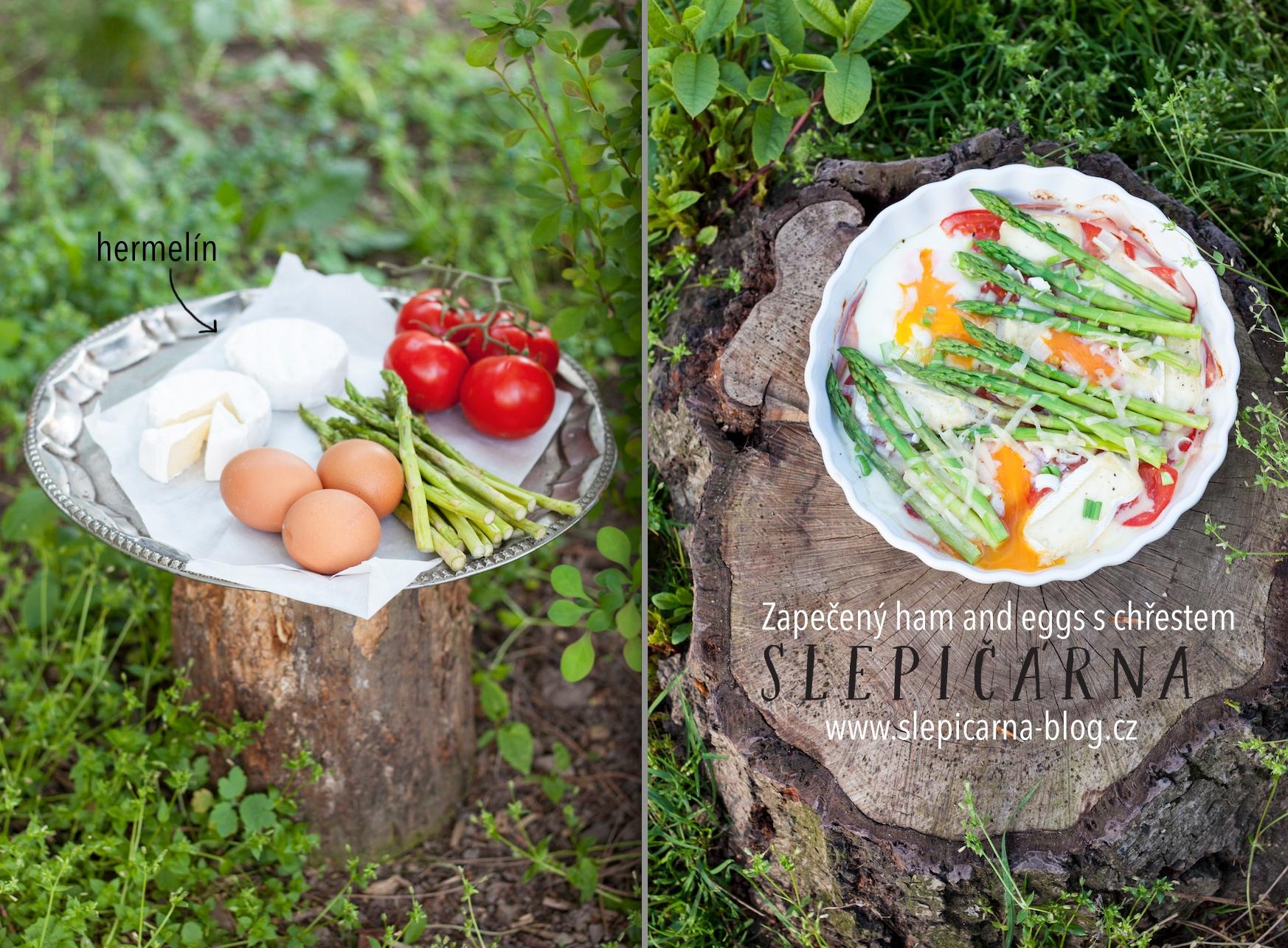 Zapečený ham and eggs s chřestem