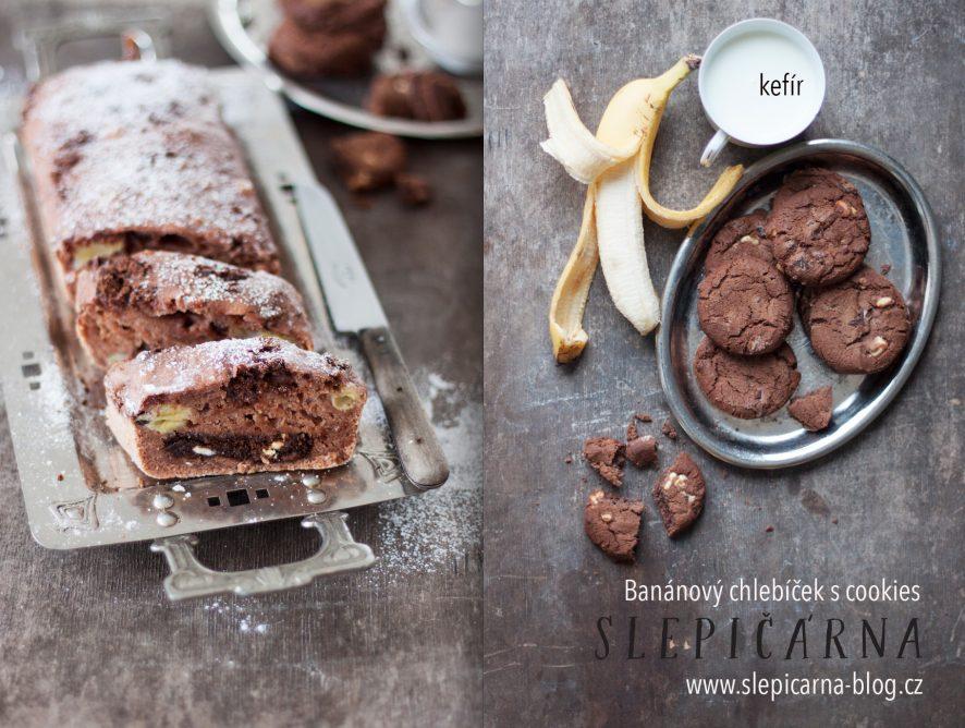 Snídaňový chlebíček s banánem, kefírem a čokoládovými cookies
